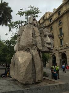 Mapuche statue in Plaza de Armas