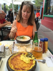 Sandy trying conger stew in Bellavista!